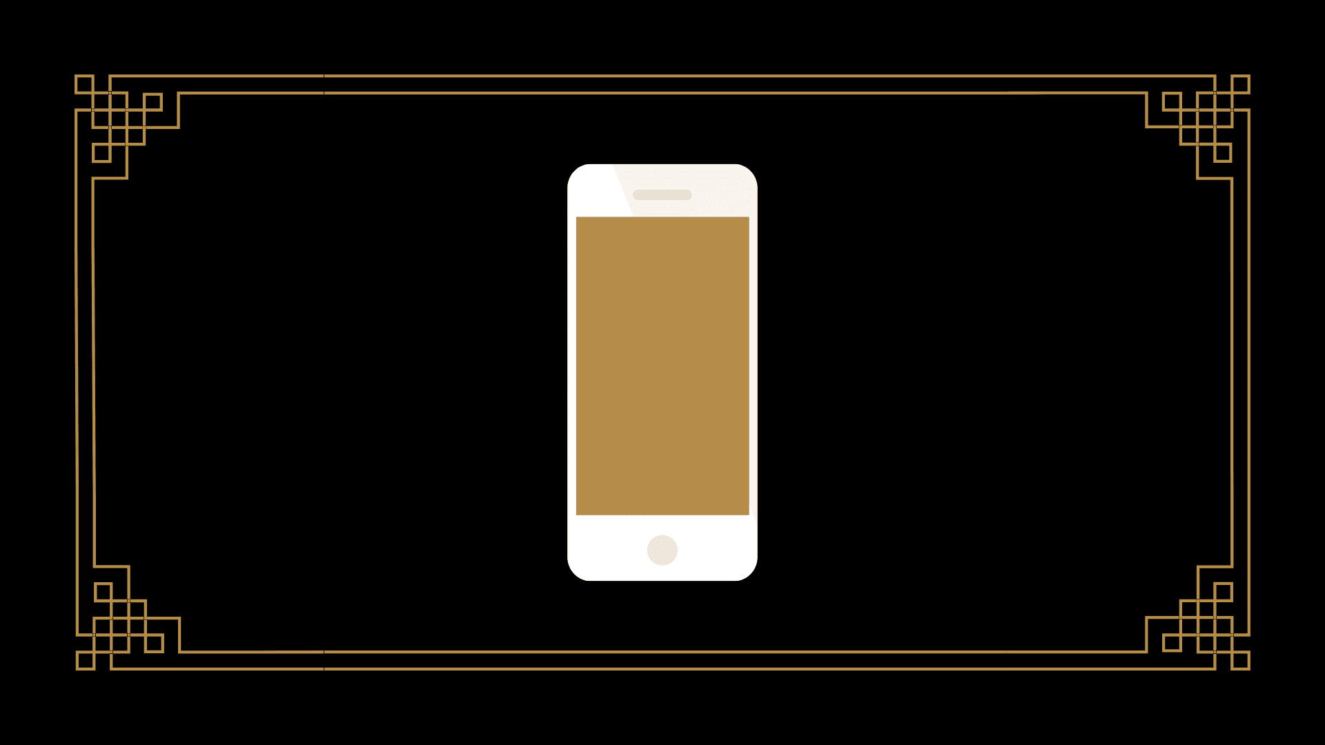 An iphone on a black background with a golden screen.