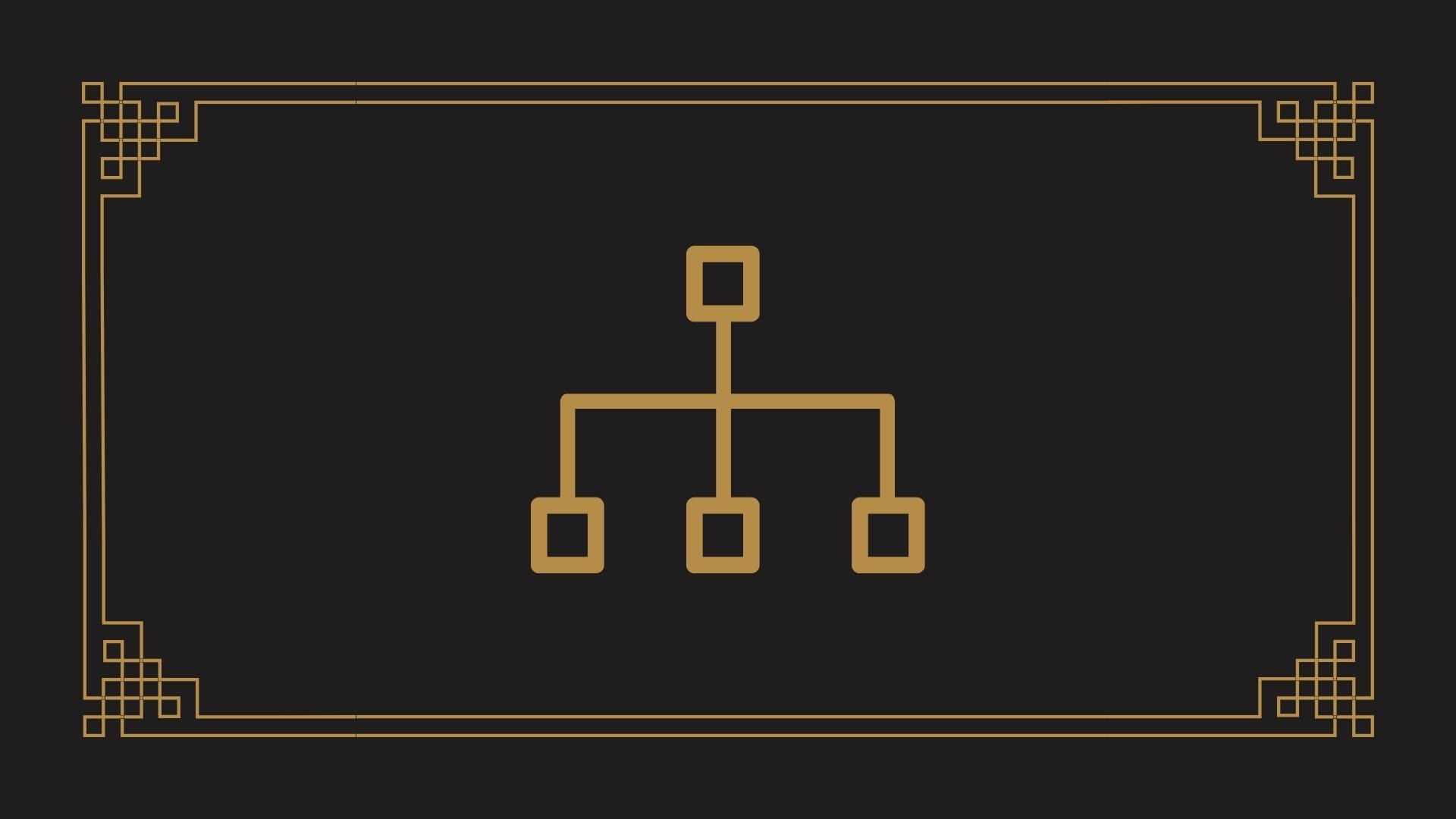 A golden silo diagram crown on a black background.