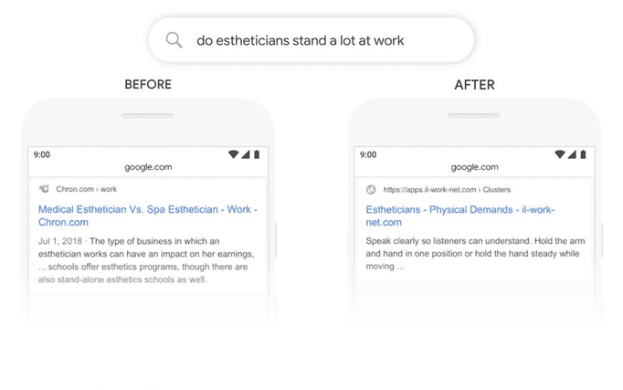 "Mobile search screenshot of ""do estheticians stand a lot at work"" results before and after BERT update"