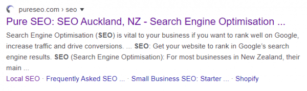 Screenshot of Pure SEO's result on Google's SERP, featuring links to top-level pages.