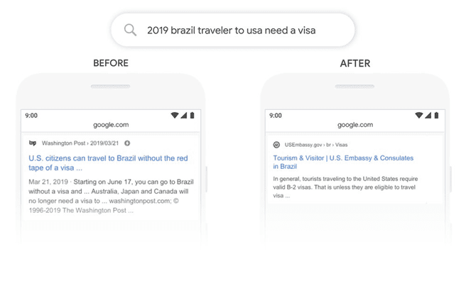 "Mobile search screenshot of ""2019 brazil traveler to usa need a visa"" results before and after BERT update"