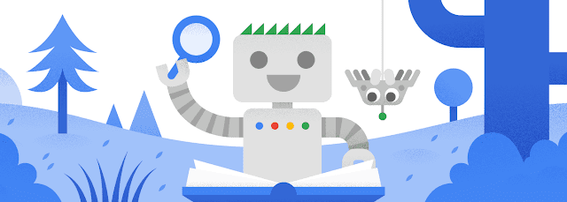 Google robot mascot with new spider bot friend